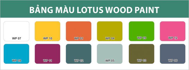 Bảng màu sơn phủ màu gỗ cao cấp Lotus Wood Paint
