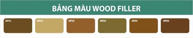 Bảng màu Keo Trám Lỗ Đinh Và Khiếm Khuyết Gỗ Wood Filler